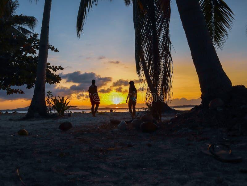 Por do sol de observação dos pares com as palmeiras na ilha de Candaraman em Balabac Filipinas foto de stock