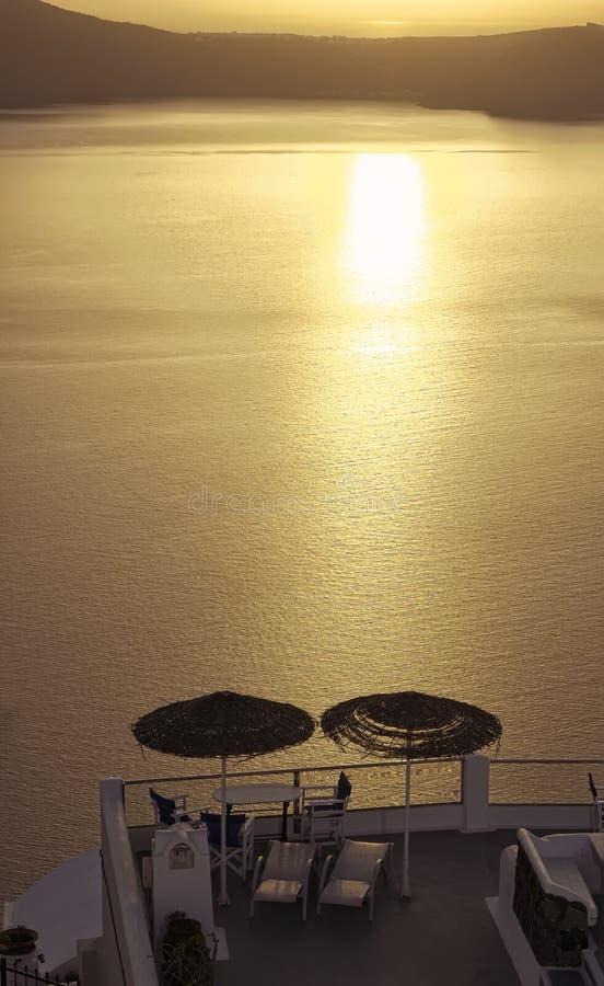 Por do sol de Oia, ilha de Santorini foto de stock