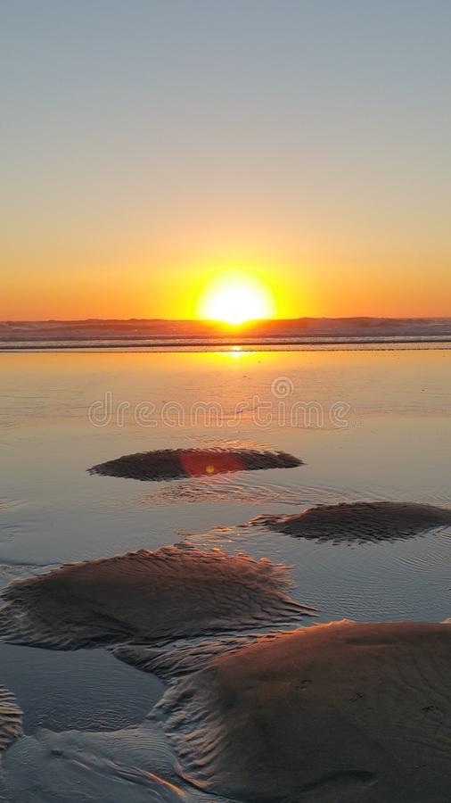 Por do sol de Oregon Sandscape fotografia de stock