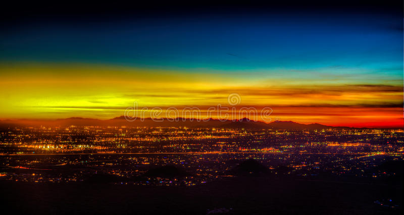 Por do sol de Phoenix o Arizona imagem de stock