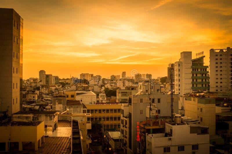 Por do sol de Saigon imagem de stock royalty free
