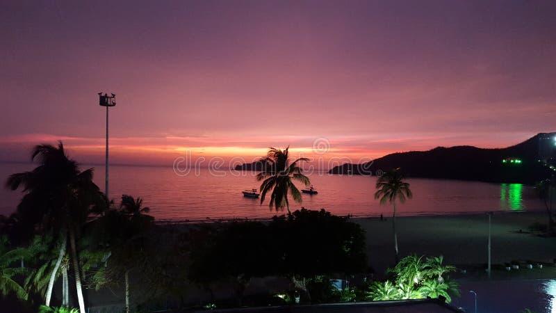 Por do sol de Santa Marta Colômbia imagem de stock