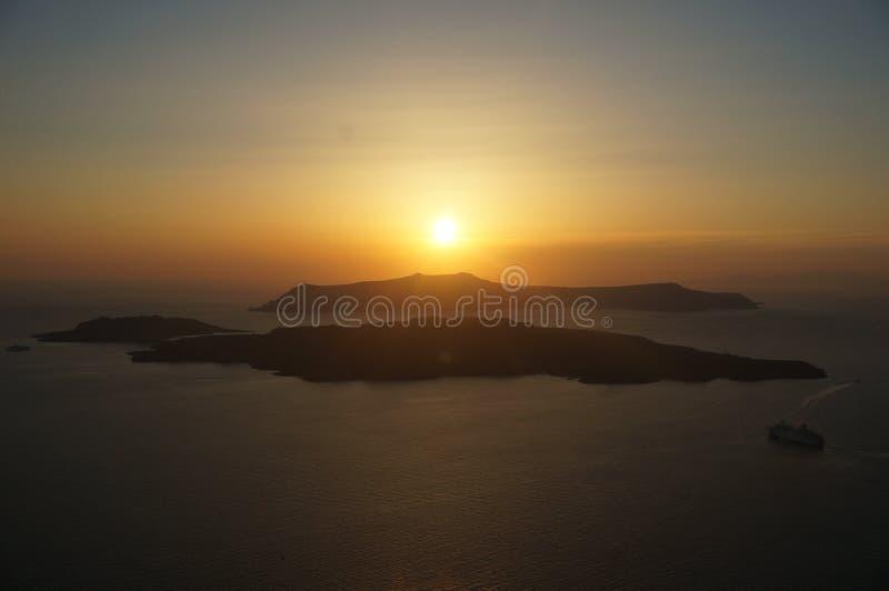 Por do sol de Santorini fotos de stock