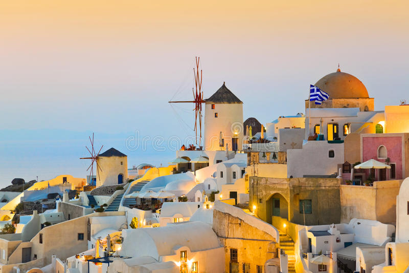 Por do sol de Santorini (Oia) - Greece imagens de stock