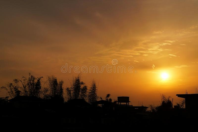 Por do sol de Shangpung foto de stock