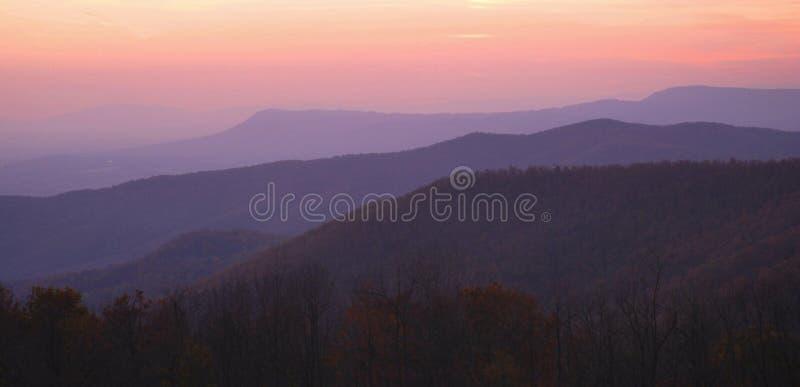 Por do sol de Shenandoah foto de stock royalty free