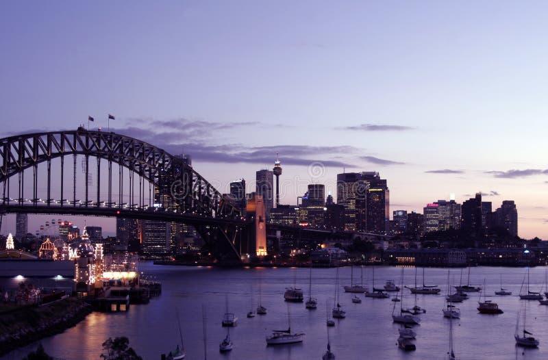 Por do sol de Sydney fotografia de stock