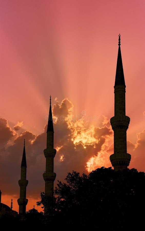 Por do sol de três minaretes fotografia de stock