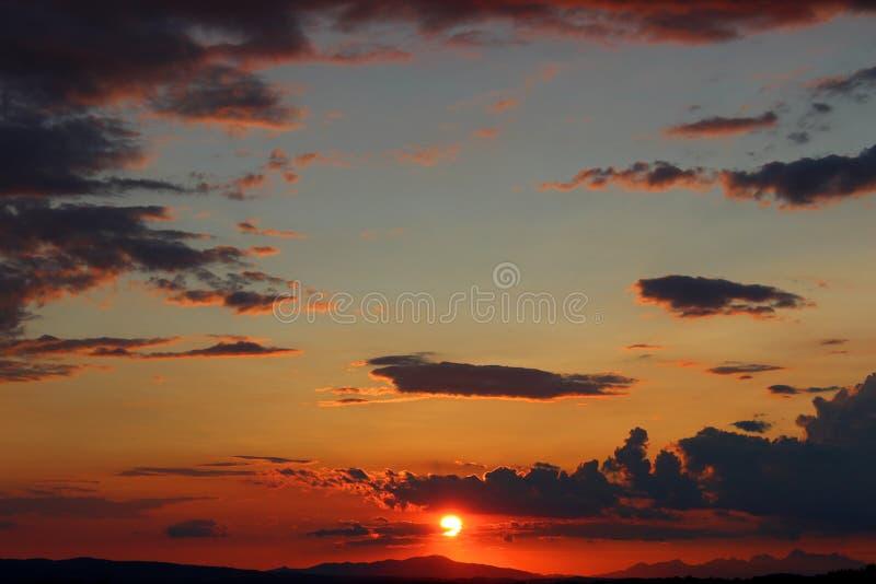 Por do sol de Tuscan fotos de stock royalty free
