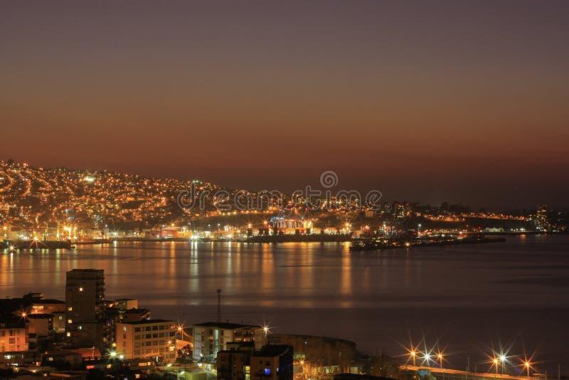 Por do sol de Valparaiso fotografia de stock