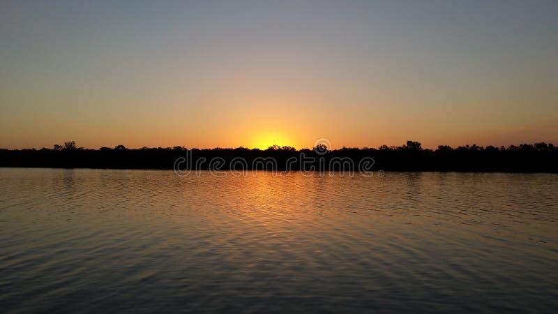 Por do sol de York do cabo - Archer River imagens de stock royalty free