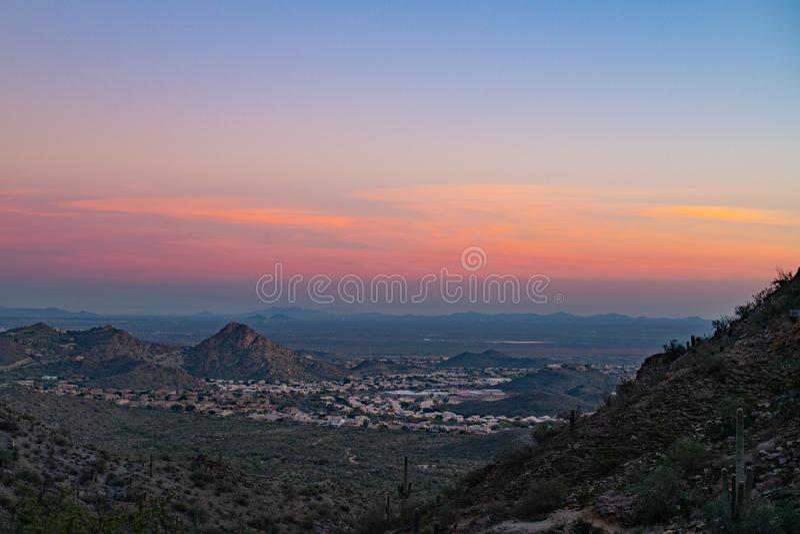 Por do sol do deserto de Sonoran fotografia de stock