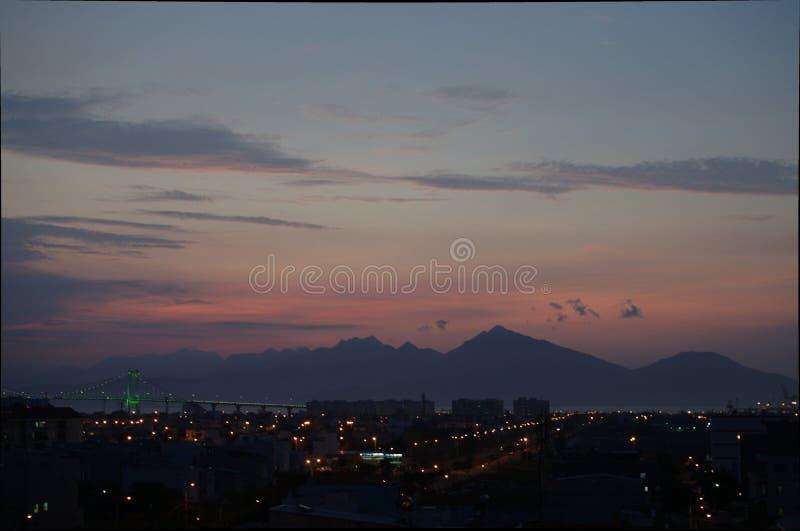 Por do sol do  àNẵng de Ä imagens de stock royalty free