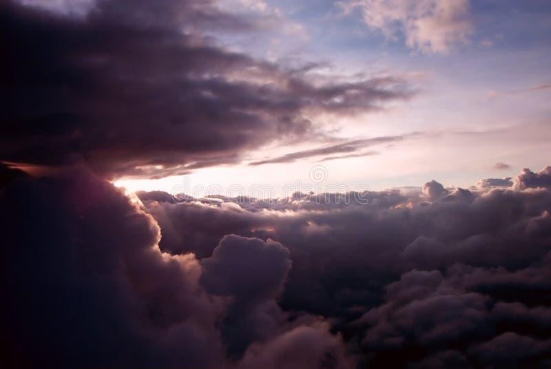Por do sol do avião fotografia de stock royalty free