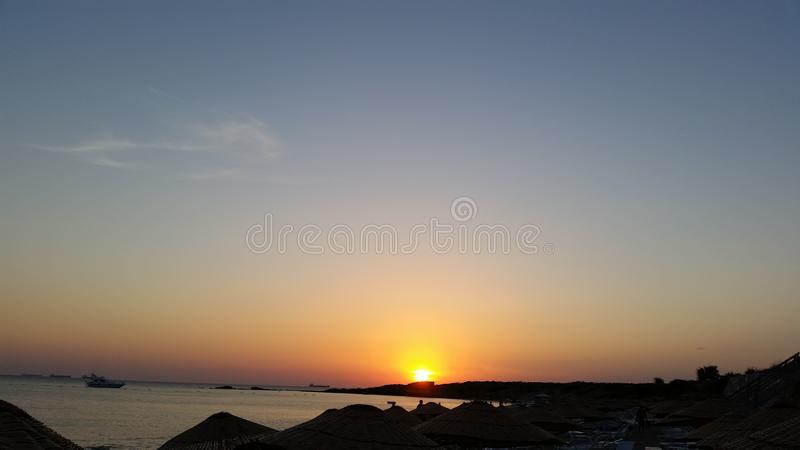 Por do sol do bozcaada de Canakkale imagens de stock royalty free