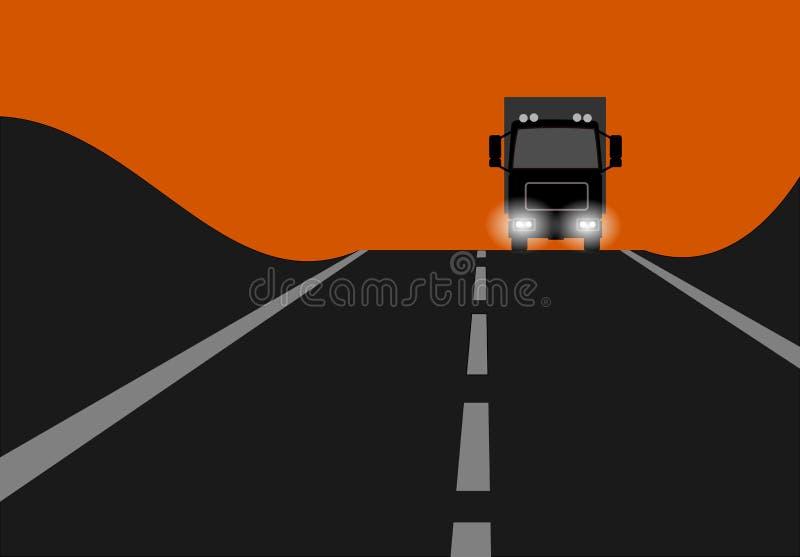 Por do sol do caminhão ilustração do vetor