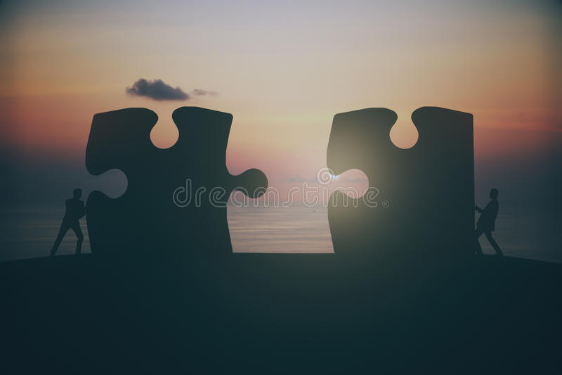 Por do sol do conceito da parceria imagem de stock