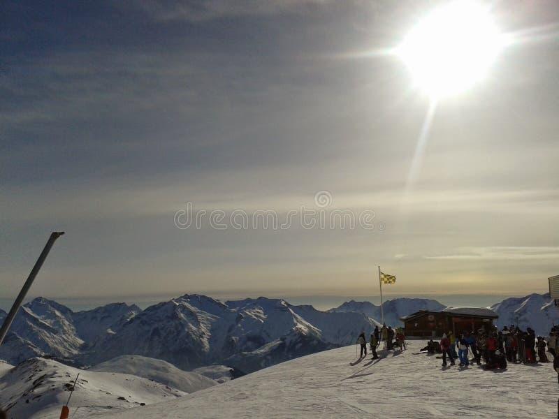 Por do sol do d'huez de Alpe imagens de stock