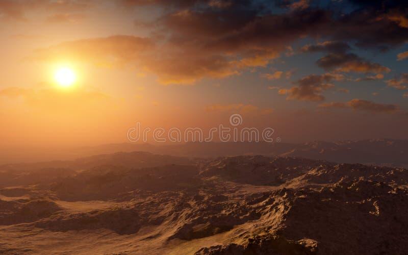 Por do sol do deserto da fantasia ilustração royalty free