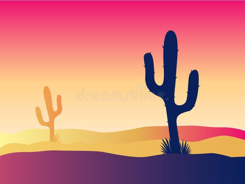 Por do sol do deserto do cacto ilustração royalty free