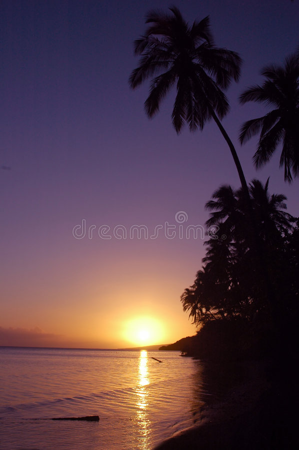 Por do sol do Hawaiian de Tropicl fotos de stock royalty free