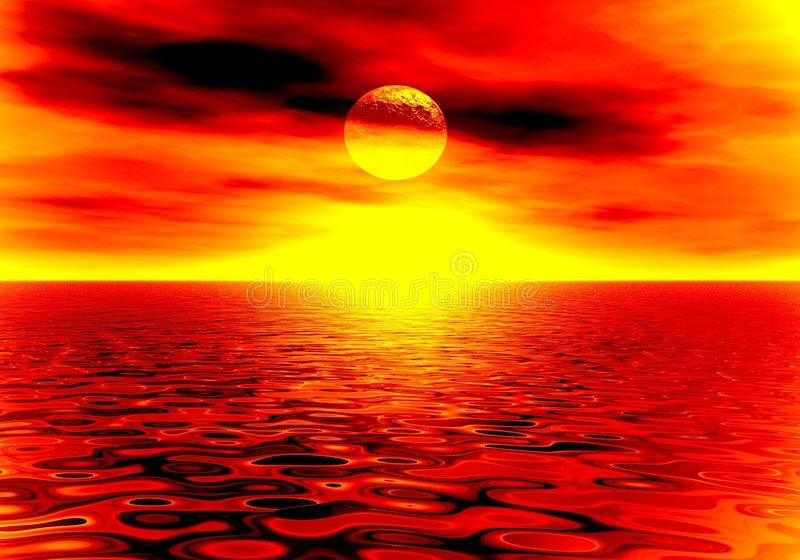 Por do sol do incêndio ilustração royalty free