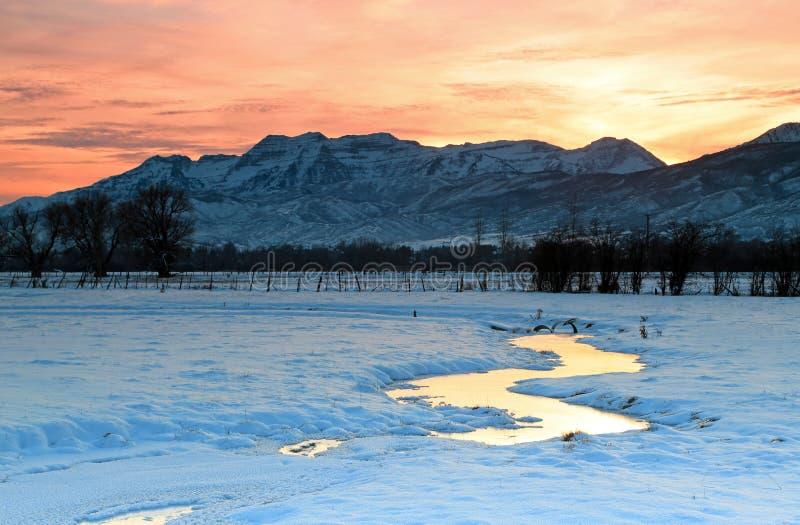 Por do sol do inverno. foto de stock