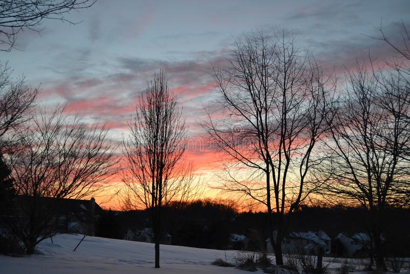 Por do sol do inverno fotografia de stock royalty free