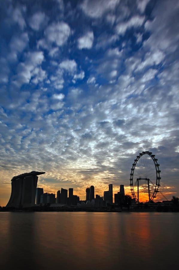 Por do sol do louro do porto de Singapore foto de stock