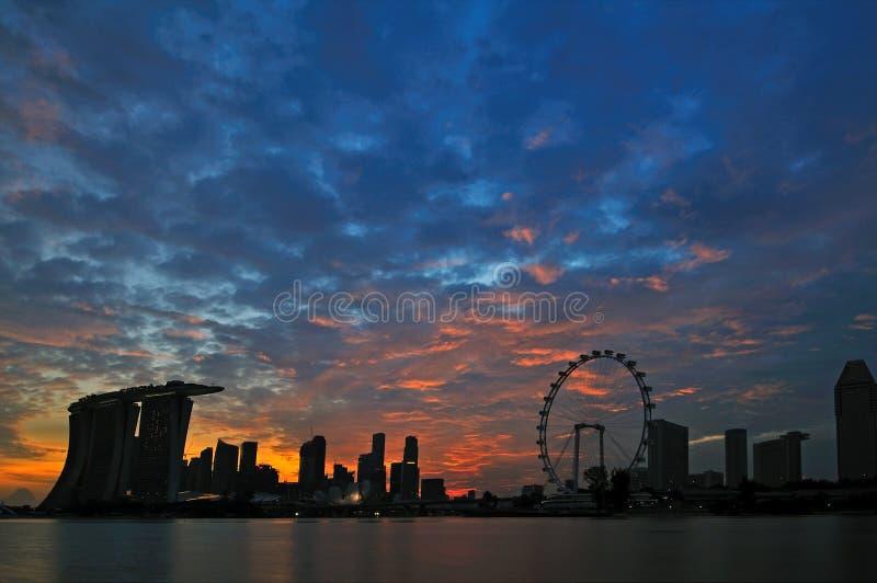 Por do sol do louro do porto de Singapore imagem de stock royalty free