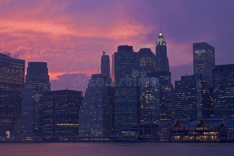 Por do sol do Lower Manhattan fotografia de stock royalty free