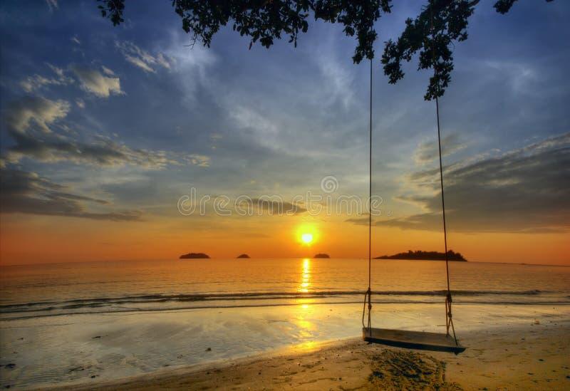 Por do sol do lugar do paraíso fotos de stock