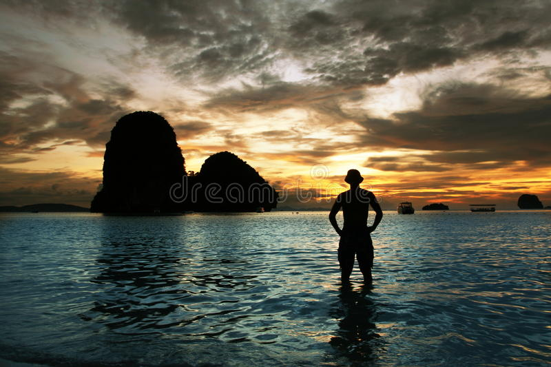 Por do sol do mar imagem de stock royalty free