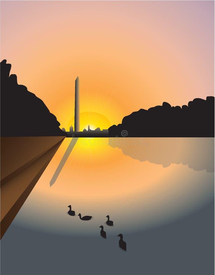 Por do sol do monumento de Washington ilustração do vetor