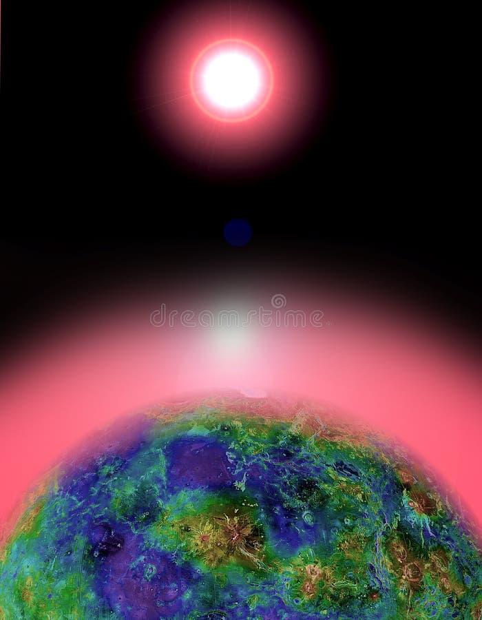 Por do sol do nascer do sol da terra ilustração stock