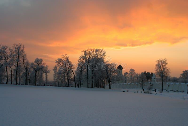 Por do sol do Natal fotografia de stock