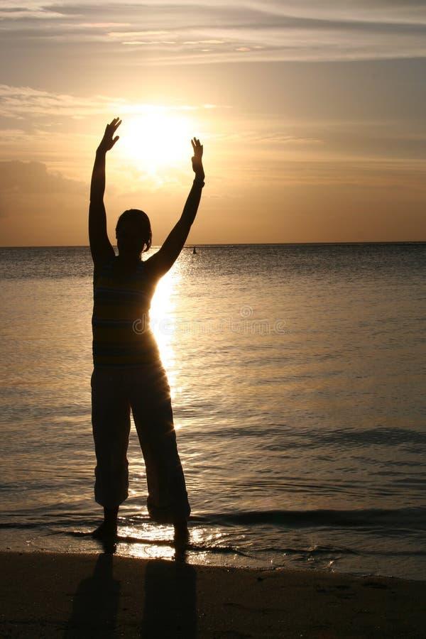 Por do sol do Oceano Índico, Silhuette, console de Maurícia foto de stock royalty free