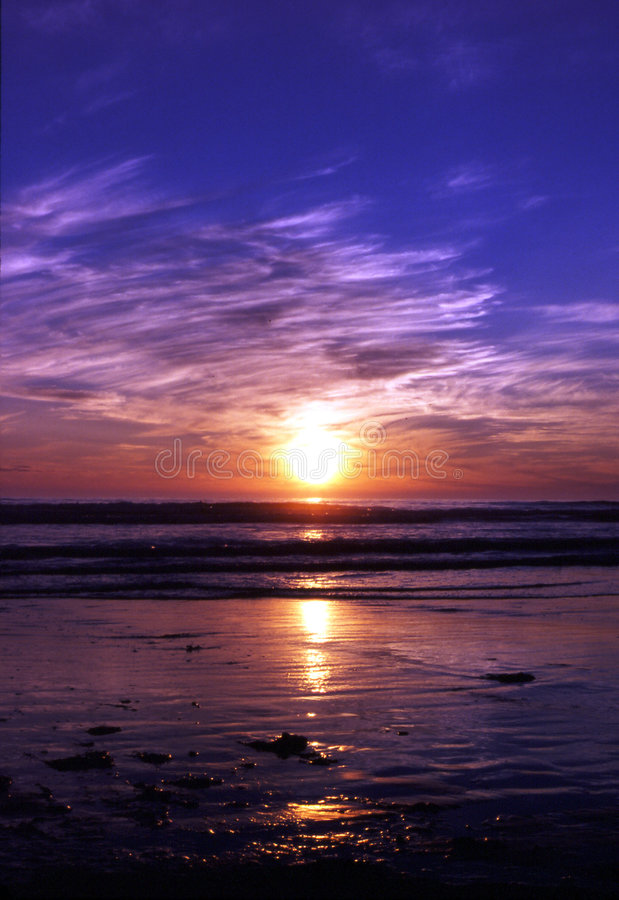 Por do sol do oceano fotografia de stock royalty free