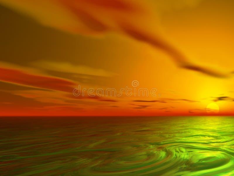 Por do sol do oceano ilustração stock