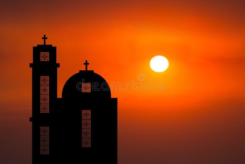 Por do sol do Oriente Médio do nascer do sol da igreja fotografia de stock royalty free