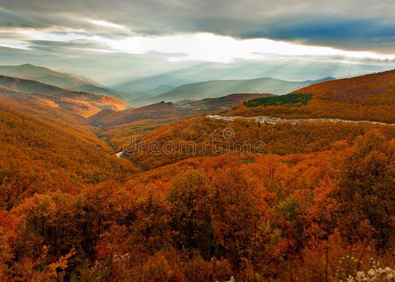 Por do sol do outono fotografia de stock