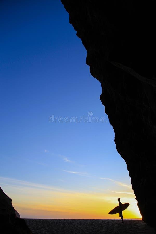 Por do sol do paraíso dos surfistas fotografia de stock