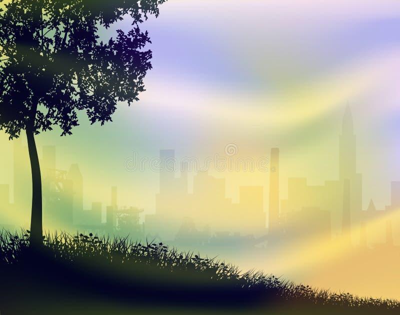 Por do sol do parque da cidade ilustração stock
