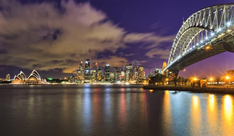 Por do sol do ponto de Sydney CBD 25mm Milsons fotografia de stock