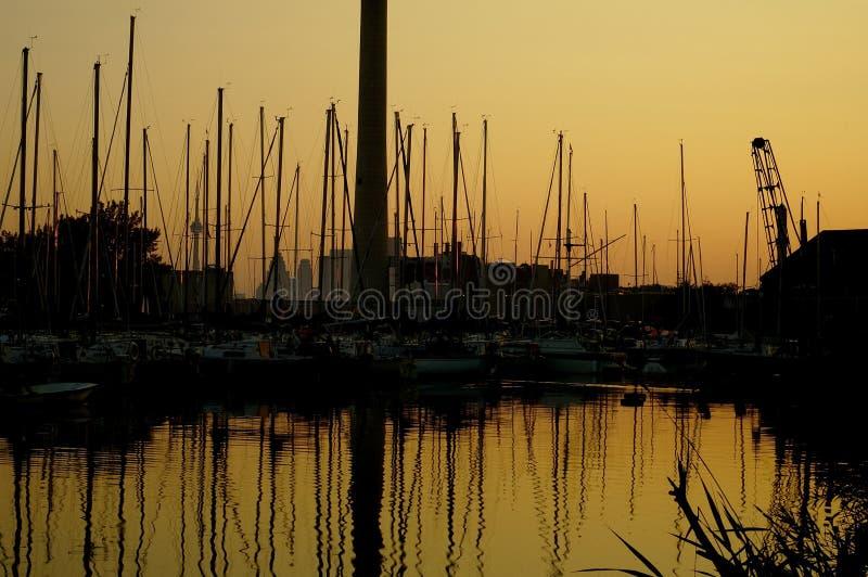 Por Do Sol Do Porto Imagem de Stock Royalty Free