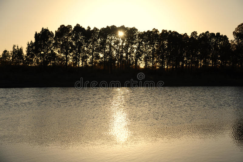 Por do sol do rio foto de stock royalty free