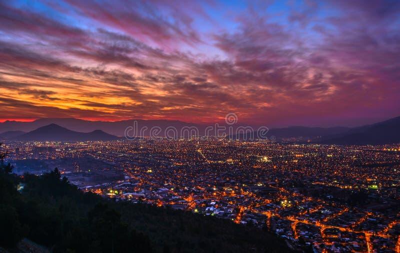 Por do sol do Santiago fotografia de stock royalty free