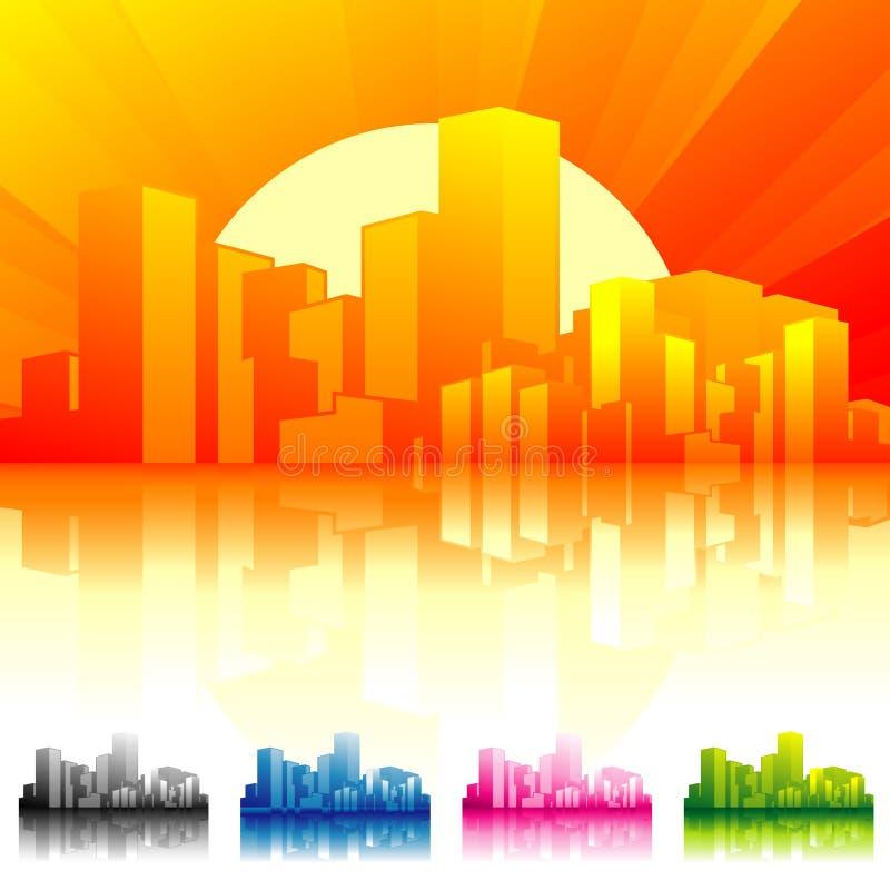 Por do sol do scape da cidade ilustração stock