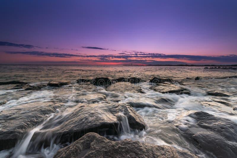 Por do sol do seascape de Cape May imagem de stock