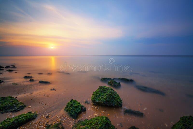 Por do sol do Seascape de Sandy Hook New Jersey imagem de stock